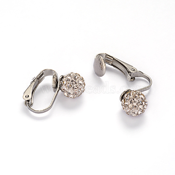304 Stainless Steel Clip-on Earrings, with Polymer Clay Rhinestone Beads, Stainless Steel Color, 16x4x17mm(EJEW-M188-05P)