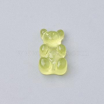 Resin Cabochons, Bear, LawnGreen, 12.5x7x4mm(X-CRES-N007-32F)
