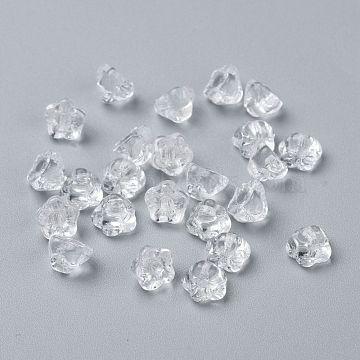 Czech Glass Beads, Flower, Clear, 7~8x5mm, Hole: 1mm, about 240pcs/bag(GLAA-I045-06A)