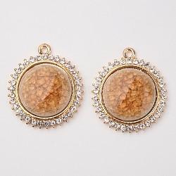 Plats ronds pendentifs en alliage de porcelaine, avec des strass, or clair, marron, 39x34x6mm, Trou: 2.5mm(PALLOY-L180-09KCG)