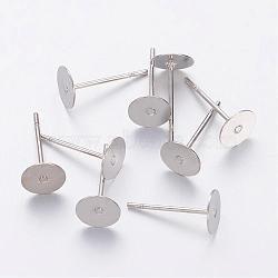 boucles d'oreilles, tête en laiton et tige en acier inoxydable, sans plomb, sans cadmium et sans nickel, platine, plateau: 6 mm; 12 mm; broche: 0.7 mm(X-KK-C2899-NFN-1)
