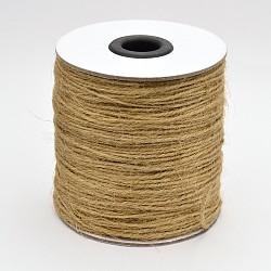 Corde de chanvre à 3 épaisseur, chaîne de chanvre, ficelle de chanvre, pour la fabrication de bijoux, Pérou, 1.5 mm; 75 m / rouleau(OCOR-E005-02A)