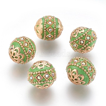 Handmade Indonesia Beads, with Metal Findings, Round, Light Gold, Yellow Green, 19.5x19mm, Hole: 1mm(IPDL-E010-20R)