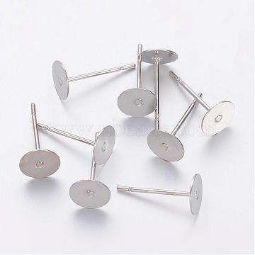 Supports de clou d'oreille, tête en laiton et tige en acier inoxydable, sans plomb, sans cadmium et sans nickel, platine, plateau: 6 mm; 12 mm; broche: 0.7 mm(X-KK-C2899-NFN-1)