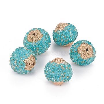 20mm Cyan Round Resin+Rhinestone Beads