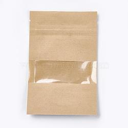 Sac en papier kraft avec cadenas, petits sacs kraft en papier kraft, sacs refermables, avec fenêtre, burlywood, 14x9 cm(OPP-WH0003-01A)