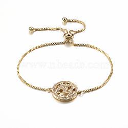 """Bracelets réglables en laiton à micro-pavé de zircons cubiques, Bracelets coulissants, plat et circulaire avec ohm, or, 10-1/4"""" (260 mm); 1.2mm(BJEW-E321-01G)"""