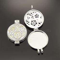 Полые плоские круглые фоторамки сплава диффузор медальон кулоны, серебряные, лоток : 30 мм; 44x33x9 мм, отверстие : 4 мм(PALLOY-J413-18S)