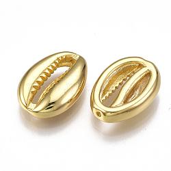 Perles en laiton, forme de cauris, véritable 18k plaqué or, 15x11x4mm, Trou: 0.8mm(X-KK-T038-06G)