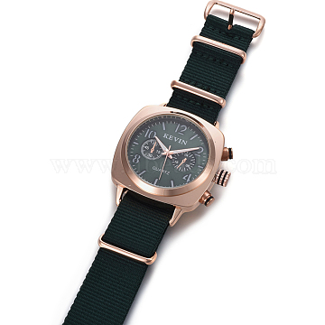 Wristwatch, Quartz Watch, Alloy Watch Head and PU Leather Strap, Dark Slate Gray, 9-5/8 inches(24.5cm), 19.5x3mm, Watch Head: 40x45x13.5mm(WACH-I097-09C)
