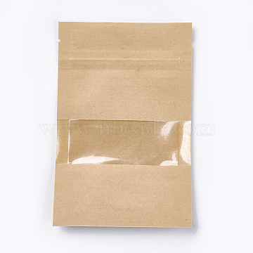 Kraft Paper Zip Lock bag, Small Kraft Paper Stand up Bags, Resealable Bags, with Window, BurlyWood, 14x9cm(OPP-WH0003-01A)