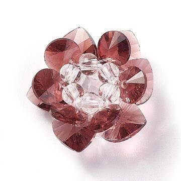 25mm Brown Flower Glass Beads
