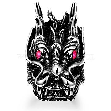 Dragon Head 316L Surgical Stainless Steel Czech Rhinestone Wide Band Rings for Men, Size 8, Antique Silver, 18.1mm(RJEW-BB01168-8)