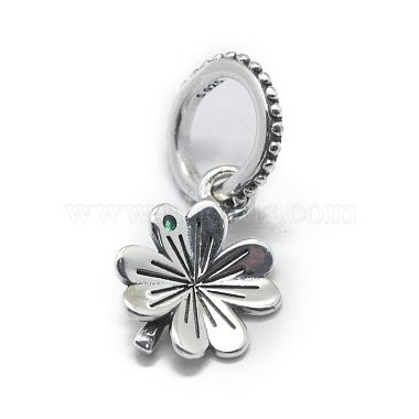 Antique Silver Green Clover Sterling Silver Pendants