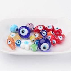 Ручной зло бусины глаз, разнообразные, разноцветные, 6~28x6~28x3~16 мм, отверстие : 1~2 мм(LAMP-MSMC003-01)