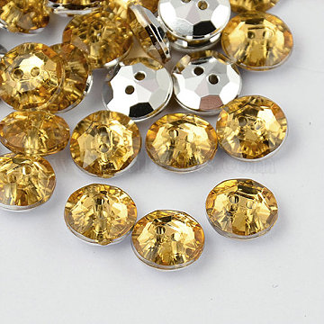2-Hole Taiwan Acrylic Rhinestone Flat Round Buttons, Faceted & Silver Plated Pointed Back, Light Khaki, 11.5x4.5mm, Hole: 1mm(BUTT-F015-11.5mm-30)