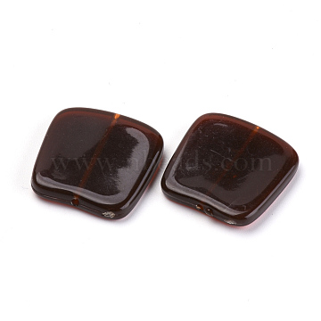 Acrylic Beads, Imitation Gemstone, Square, Coconut Brown, 20.5x20x3.5mm, Hole: 1mm(X-OACR-S016-06A)