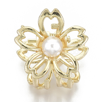 Alloy Claw Hair Clips, with ABS Plastic Imitation Pearl, Long-Lasting Plated, Sakura Flower, Matte Gold Color, White, 23x24x23mm(X-PHAR-N004-005)
