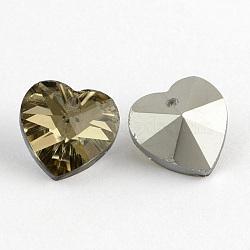 Pendentifs en verre, pendentifs cardiaques électrolytique , fond argenté, facette, Darkkhaki, 14x14x8mm, Trou: 1.5mm(X-EGLA-R082-03)