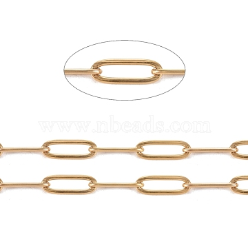 304 Stainless Steel Paperclip Chains, Drawn Elongated Cable Chains, Soldered, with Spool, Golden, Links: 12x4x1mm, about 32.8 Feet(10m)/roll(CHS-L022-02B-G)