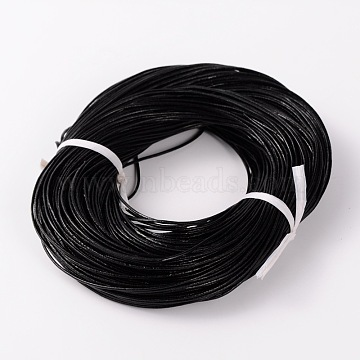 Cowhide Leather Cord, Leather Jewelry Cord, Black, about 1.5mm thick(X-NPS001Y-2)