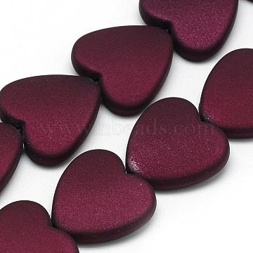 Rubberized Style Acrylic Beads, Heart, Dark Red, 20x20x6mm, Hole: 2mm(X-MACR-Q213-X02)