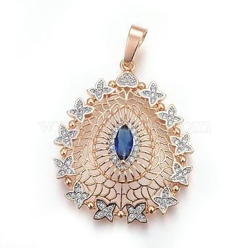 Light Gold MediumBlue Drop Brass+Cubic Zirconia Pendants
