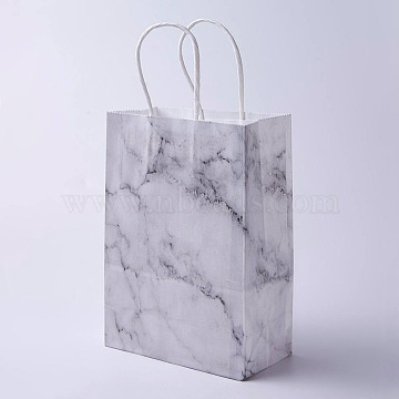 kraft Paper Bags, with Handles, Gift Bags, Shopping Bags, Rectangle, Marble Texture Pattern, White, 33x26x12cm(CARB-E002-L-E01)