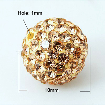 Perles de boule pavé disco , Perles de strass en argile polymère, Grade a, Light Peach, 10mm, Trou: 1mm(X-RB-Q195-10mm-362)