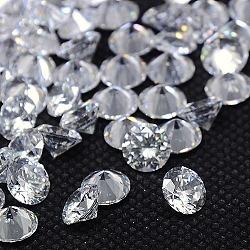 forme de diamant de qualité aaa cabochons zircone cubique, facettes, effacer, 3 mm(ZIRC-J013-01-3mm)