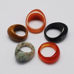 Pierres précieuses bagues large bande, couleur mixte, 15~20mm(RJEW-S619-M)