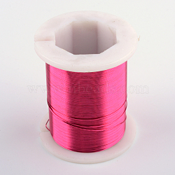 Copper Jewelry Wire, DeepPink, 26 Gauge, 0.4mm; 30m/roll(CWIR-R004-0.4mm-07)