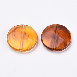 Perles acryliques, ambre d'imitation, plat rond, orange foncé, 21x5mm, Trou: 1.5mm(X-OACR-S016-36)