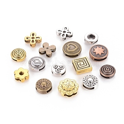 Tibetan Style Slide Charms, Mixed Shapes, Mixed Color, 10~19.5x8~16x2.5~5.5mm, Hole: 1.5~8x5~11mm.(TIBEB-MSMC008-01)