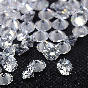 Diamond Shape Grade AAA Cubic Zirconia Cabochons, Faceted, Clear, 3mm(ZIRC-J013-01-3mm)