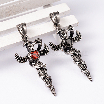 Antique Silver Cross Stainless Steel+Rhinestone Pendants