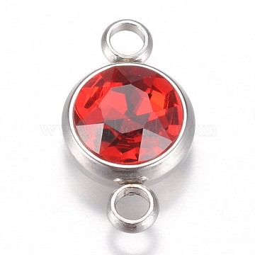 Stainless Steel Color Red Flat Round Glass Links
