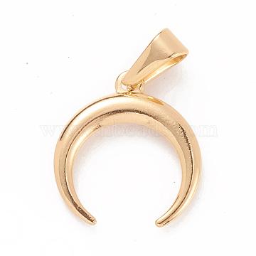 304 Stainless Steel Pendants, Large Hole Pendants, Double Horn/Crescent Moon, Golden, 19x18x2mm, Hole: 8x3mm(X-STAS-D019-05G)