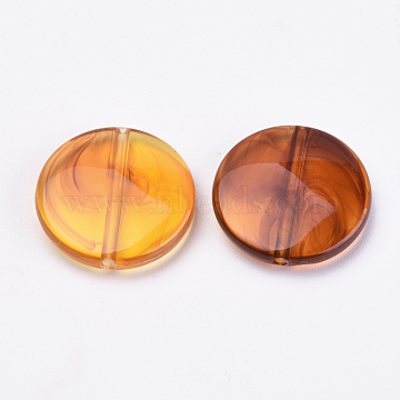 21mm DarkOrange Flat Round Acrylic Beads