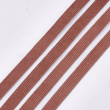 Corduroy Fabric Ribbon, Polyester Ribbon, For DIY Hair Bow Making, Chocolate, 10mm; about 100yard/roll(91.44m/roll)(OCOR-S115-03A)