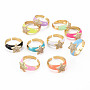 Mixed Color Brass+Cubic Zirconia Finger Rings(RJEW-S045-082-NR)