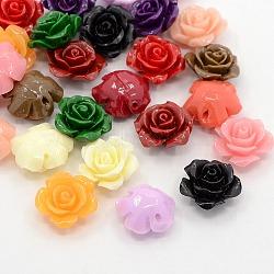 Perles roses de fleur de 3D en corail synthétique, teint, couleur mixte, 14x8mm, Trou: 1.5mm(CORA-A005-14mm-M)