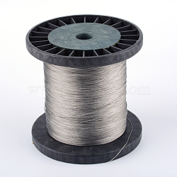 Tiger Tail Wire, 201 Stainless Steel Wire, with Random Spool, Stainless Steel Color, 0.6mm; about 500m/500g(TWIR-Q005-01)