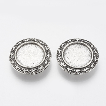 Tibetan Style Alloy Slide Charms Cabochon Settings, Cadmium Free & Lead Free, Flat Round, Antique Silver, Tray: 18mm; 27x7mm, Hole: 2.5x10mm; about 165pcs/1000g(TIBE-Q086-009AS-LF)