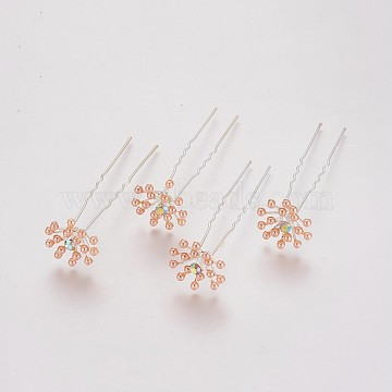 (Defective Closeout Sale), Lady's Hair Forks, with Silver Color Plated Iron Findings, Acrylic Imitation Pearl and Rhinestone, Flower, Crystal AB, Light Salmon, 73mm(PHAR-XCP0001-G02)