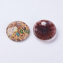 Pendentifs vernissées manuelles, fleur intérieure, pendamts à gros trous, plat rond, coconutbrown, 45~46x9.5~10.5mm, Trou: 5.5~7.5mm(LAMP-J090-D01)
