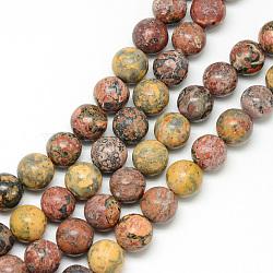 """Brins de perles de jaspe en peau de léopard naturel, rond, 8~9mm, trou: 1mm; environ 46 pcs/chapelet, 15.3""""(G-R345-8mm-30)"""