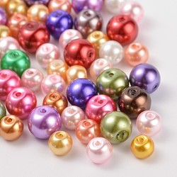 Glass Pearl Round Beads, Mixed Style, Mixed Color, 4~6mm, Hole: 1mm