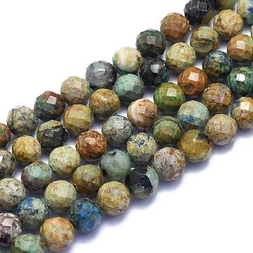 Natural Chrysocolla Beads Strands, Round, Faceted, 10mm, Hole: 1.2mm; about 38pcs/Strand, 15.55 inches(39.5cm)(G-K310-A16-10mm)