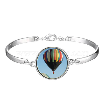 Picture Glass Links Bracelets, with Alloy Findings, Flat Round with Pattern, Balloon, Colorful, 2-1/8 inches(5.5cm)(BJEW-O171-44)